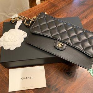 Chanel black lambskin wristlet